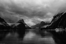 Milford sound black and white