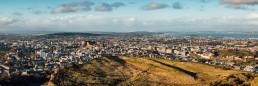 A panoramic image of Edinburgh from Arthur's Seat.