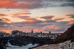 Edinburgh Castle at sunset in the snow