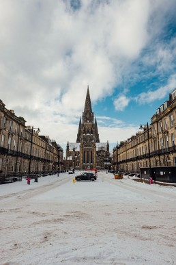 St Mary's Cathedral in the West End of Edinburgh with a sprinkle of snow, Edinburgh, Scotland. Scottvs. Photography.