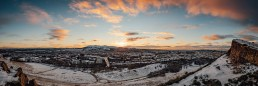Panoramic of the skyline of Edinburgh in the snow, taken from the Salisbury Crags